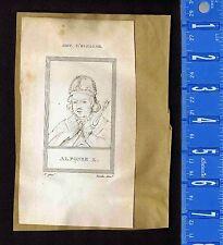 Greek Poet Aratus & Alfonso X of Castile -1809 Copper Plate Portrait Prints