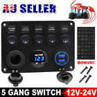 5 Gang 12V Switch Panel ON-OFF Toggle 2 USB for Car Boat Marine RV Truck Camper