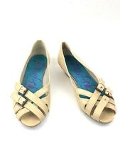 Blowfish Sandals Peep Toe Sz 6 Brown Slip On Buckle Leather Strappy Shoes Womens