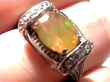 STERLING SILVER OPAL RING 7.5 WHITE GOLD, FANCY WHITE SAPPHIRE PRINCESS 925