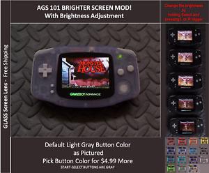 GameBoy Advance GBA Backlit Mod AGS101 LCD w/ 5 Level Brightness Switch-GLACIER