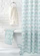 Duck Egg Blue & White Vintage Shabby Chic Luxury French Style Fan Shower Curtain