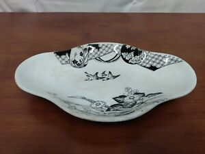 """Antique TYCOON Brownfield & Son Blue Bird Black Floral Ironstone Clover 9"""" BOWL"""