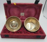 Nice pair of vintage hand hammerd  silver plated bowls / boxed