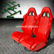 RED PVC LEATHER RECLINABLE RACING SEATS+UNIVERSAL SLIDER+4PT HARNESS GREEN BELTS