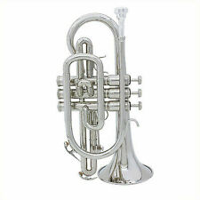 ammoon Silver BB Cornet Brass Music Instrument With Case for Student I9p0