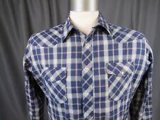 Wrangler Western Shirt Mens XLT blue white Plaid