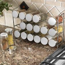 Polder Compact 18 Glass Spice Jar Rack Bottle Jar Set Storage Holder Chrome New