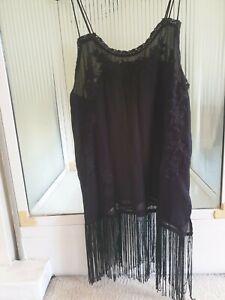 Zara Basic Black Fringed Flapper Style Top Dress Sheer