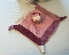 Doudou plat Mam Zelle Bou SAUTHON chouette hibou rose violet - neuf