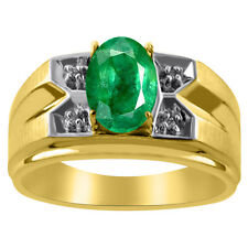 Mens Diamond & Emerald Ring 14K Yellow Gold Ring