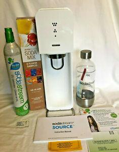 Sodastream Source SOU-001 White Silver Soda Maker Machine MIX  Bottle & Manual