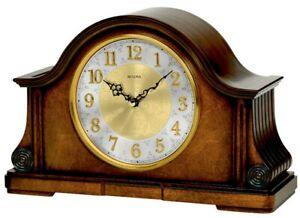 Bulova Walnut Finish Wooden Westminster Chime Battery Mantel Clock B1975
