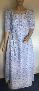 Regency Dress, Jane Austen, 3/4 Sleeves, Floral Cotton, Size 14, Free UK P&P