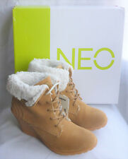 9b8aff5a18390b Womens adidas Neo Chill Wedge BOOTS Tan Shoes Lace up Warm Faux Fur 4 5 6