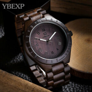 UWOOD Men's Wooden Watches Classy Quartz Wristwatch Black Soild Wood Stylish US