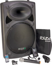 "IBIZA PORT15VHF-BT MOBILE BESCHALLUNGSANLAGE 15"" Lautsprecher Mikrofon USB Akku"