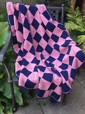 Handmade Traditional Vintage BLue & Pink Granny Square Crochet Blanket Throw