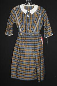 VERY RARE 1950'S GIRL'S DEADSTOCK COTTON PLAID DRESS SIZE 10 WITH ORIGINAL TAG