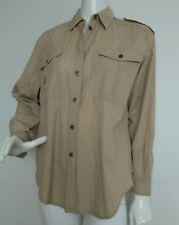 JAEGER casual boyfriend cotton shirt size L 100% Cotton long sleeve beige