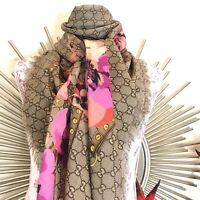 Gucci pink oshibana floral scarf/shawl