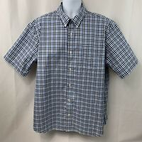 Duluth Trading Co Mens Short Sleeve Blue White Button Down Plaid Shirt Size XL