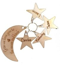 Personalised Moon Keyring, Ideal Gift, Mum, Dad, Grandma etc. Laser Engraved We