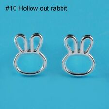 925 Sterling Silver Cute Crystal Butterfly Woman Girls Kids Stud Earring Bag Hollow out Rabbit
