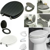 TONGUE & GROOVE TOILET SEAT MDF WOODEN STRONG CHROME HINGES WHITE GREY BLACK