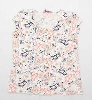 Dorothy Perkins Womens Size 12 Cotton White Butterfly T-Shirt (Regular)