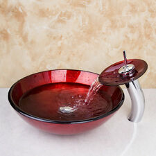 Bathroom Red Round Tempered Glass Basin Set Vessel Vanity Sink Bowl With Faucet