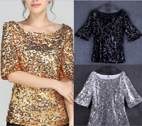 Fashion Women Sequin Lady Sparkle Glitter Blouse Short Sleeve Party Top Size6-22