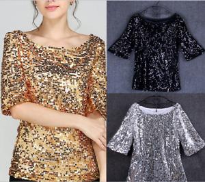 Fashion Women Sequin Lady Sparkle Glitter Blouse Short Sleeve Party Top Size6-22