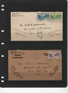 PANAMA CANAL ZONE 2 AIRMAIL COVERS 1932  USED