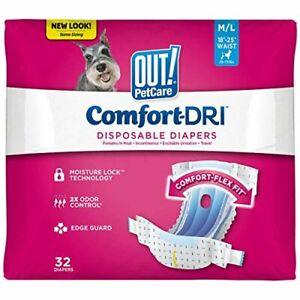 OUT! Disposable Female Dog Diapers | Absorbent Diapers with Leak Protection