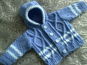Hand knitted baby Aran hooded cardigan/coat 3-6months/reborn