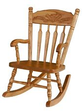 Amish Kids Toddler Rocking Chair Traditional Post Spindle Wheat Solid Oak