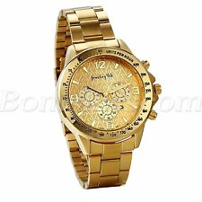 Men Luxury Business Gold Tone Stainless Steel Date Decoration Quartz Wrist Watch