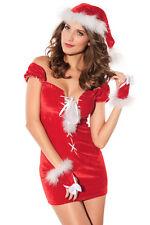 Déguisement Noël femme Miss Santa Robe Bonnet Ruban  véritable fourrure