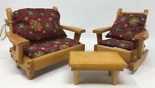 Vintage Dollhouse Pert Pat. Products Inc. Boscawen Nh Sofa, Rocking Chair Table