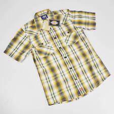 Dickies Shirt - short Sleeved - SIZE S - Slim Fit - Bowery - Orange Checkered