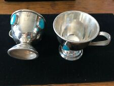 Silver And Turquoise Cups Matching Set of Six Native American Navajo 005