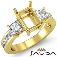 3 Stone Diamond Wedding Ring 18k Yellow Gold Princess Emerald Semi Mount 1.1Ct