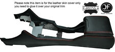 RED STITCHING CENTRE CONSOLE & ARMREST LEATHER COVERS FITS BMW E39 1996-2003