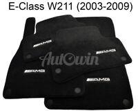Floor Mats For Mercedes-Benz E Class W211 AMG Emblem Black NEW Premium Carpets