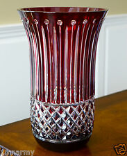 "AJKA VASE, XENIA PATTERN 12"", Ruby Red Cased Crystal, Signed!"
