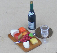 1:12 Scale Cheese & Wine On A Board Tumdee Dolls House Delicatessen Grapes Shop