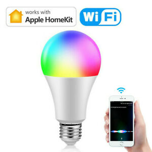 Siri Voice Control Smart Wifi RGB Light E27 Bulbs LED Apple Homekit APP Control