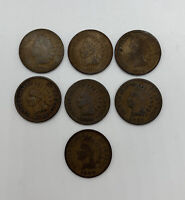 Indian Head Pennies 1 Cent US Coins Penny Lot Of 7 1880s 1880-1889