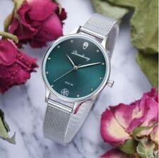 Femmes de luxe vert cadran Bracelet Quartz horloge mode métal argent ceinture
